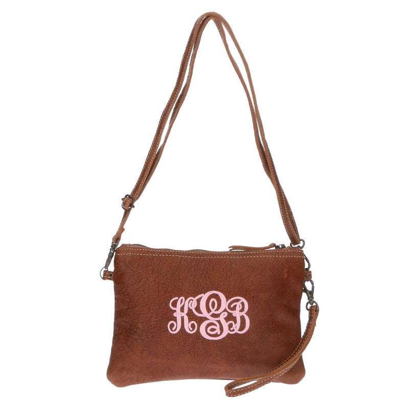Monogram Rustic Leather Crossbody Bag