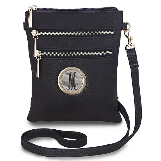 monogram crossbody bag - black