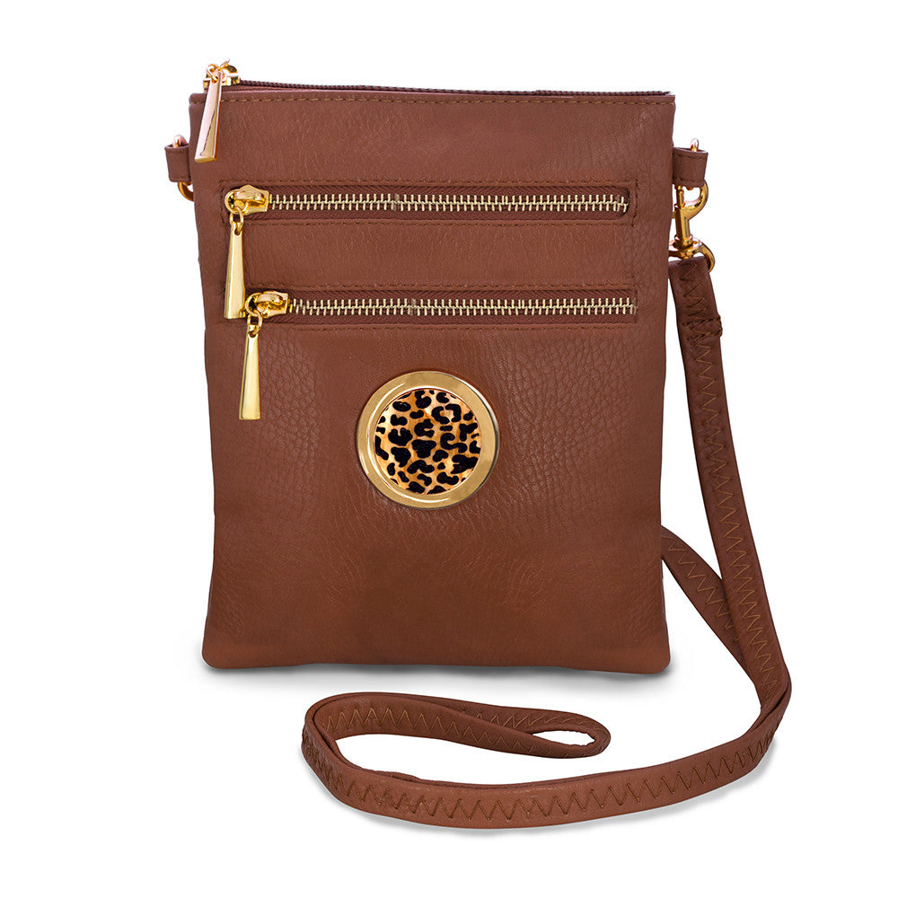 monogram crossbody bag - camel