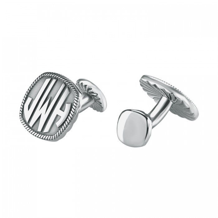 monogram cufflinks square silver
