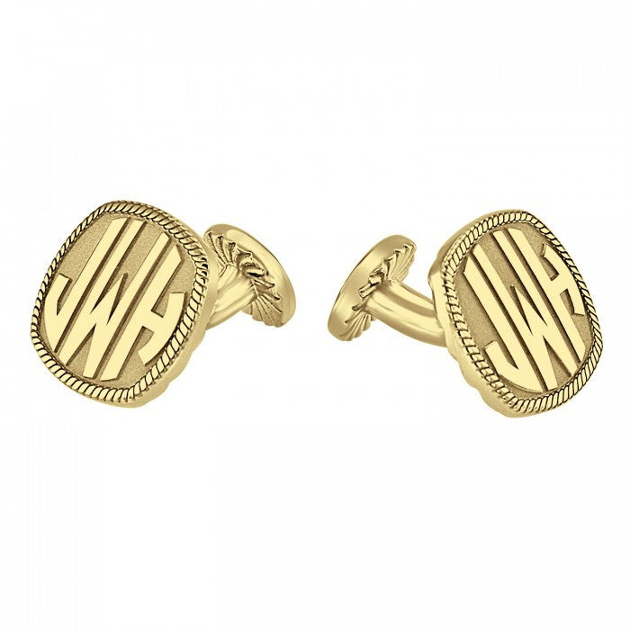 monogram cufflinks square face block font
