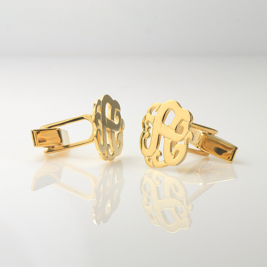 monogram cufflinks swirly initial