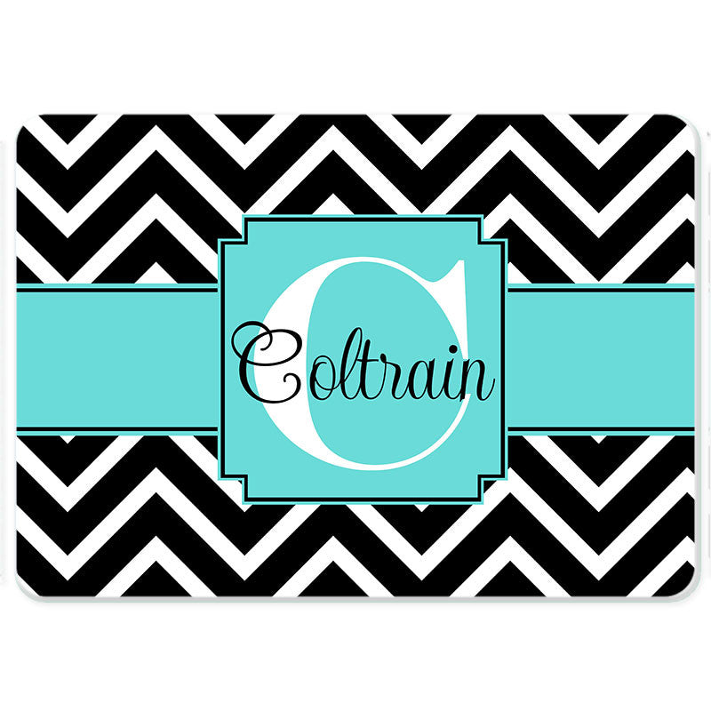 Personalized Glass Cutting Board-Chevron Ribbon 2