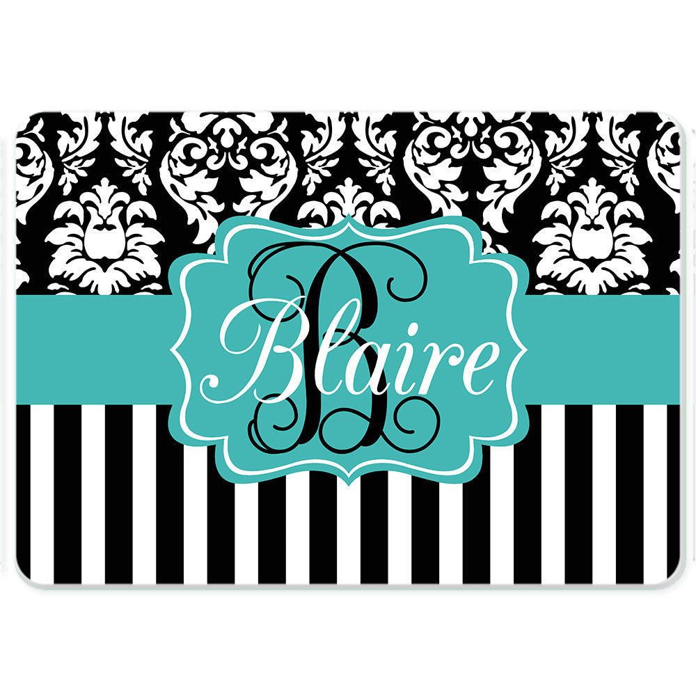 Personalized Glass Cutting Board-Damask Stripe 2