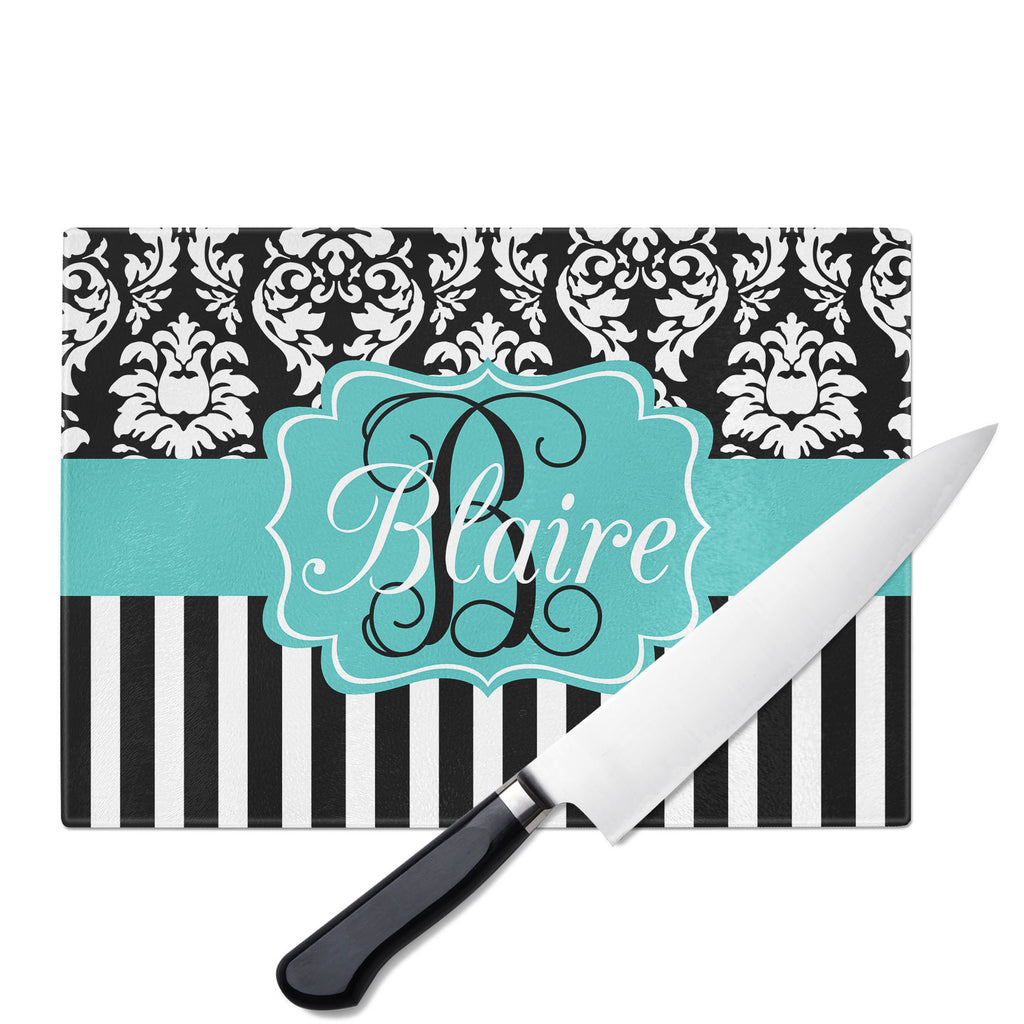 Personalized Glass Cutting Board-Damask Stripe