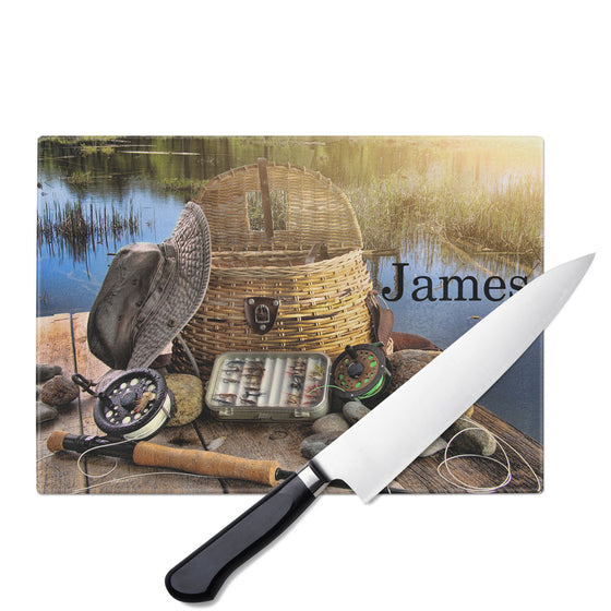 Personalized Glass Cutting Board-Fishing Gear