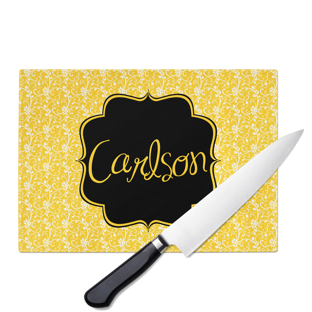 Personalized Glass Cutting Board-Floral