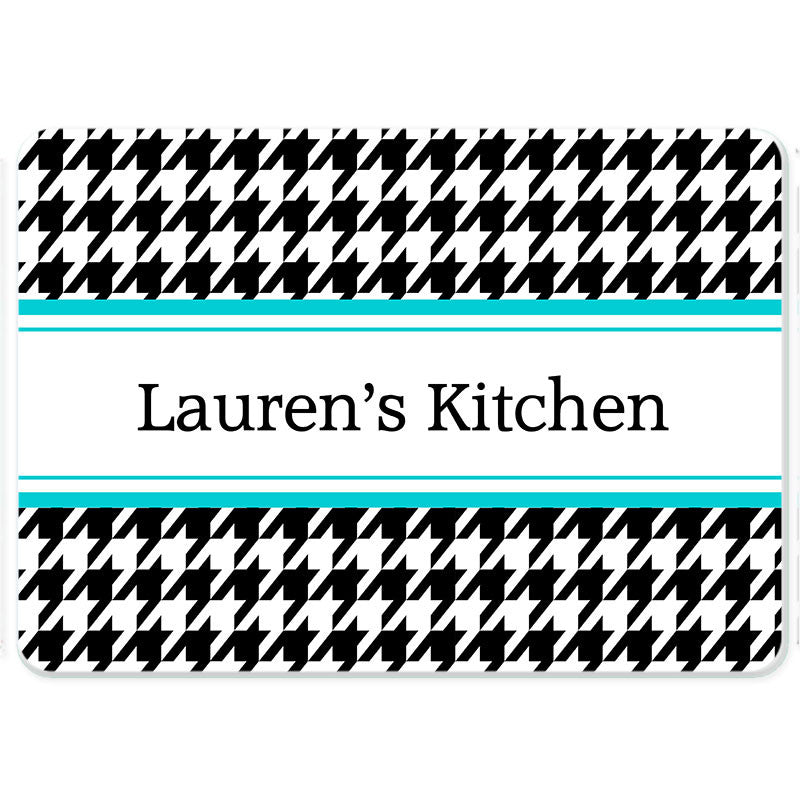Personalized Glass Cutting Board-Houndstooth