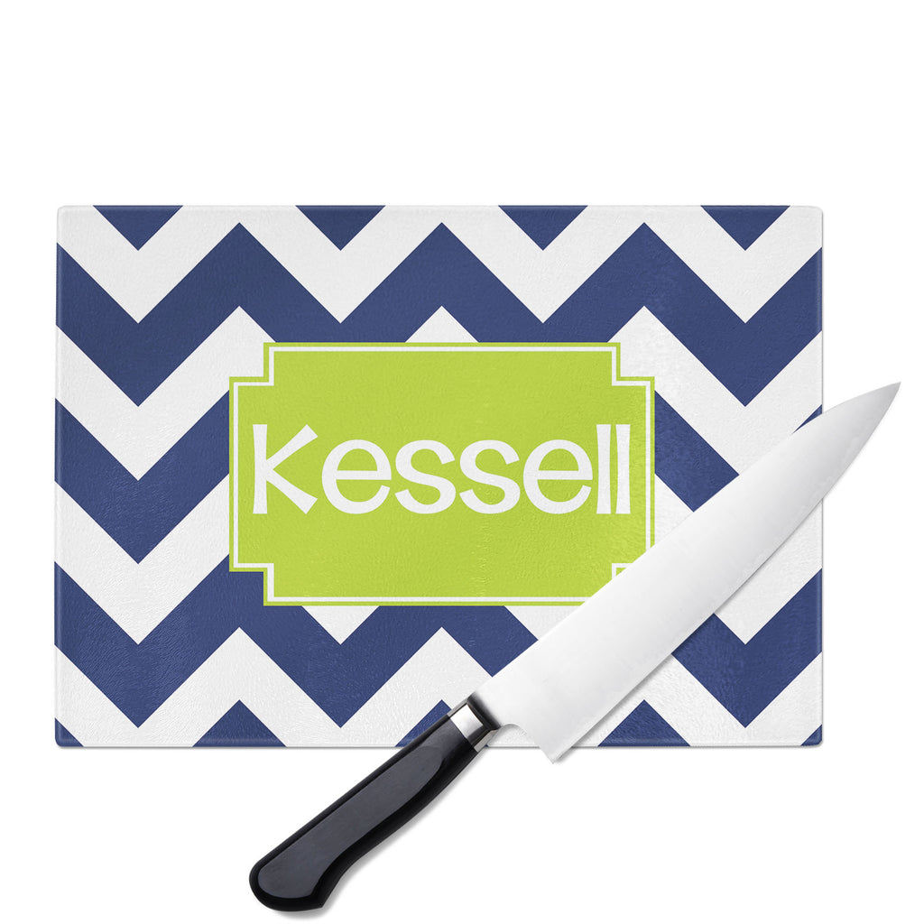 Personalized Glass Cutting Board-Jumbo Chevron