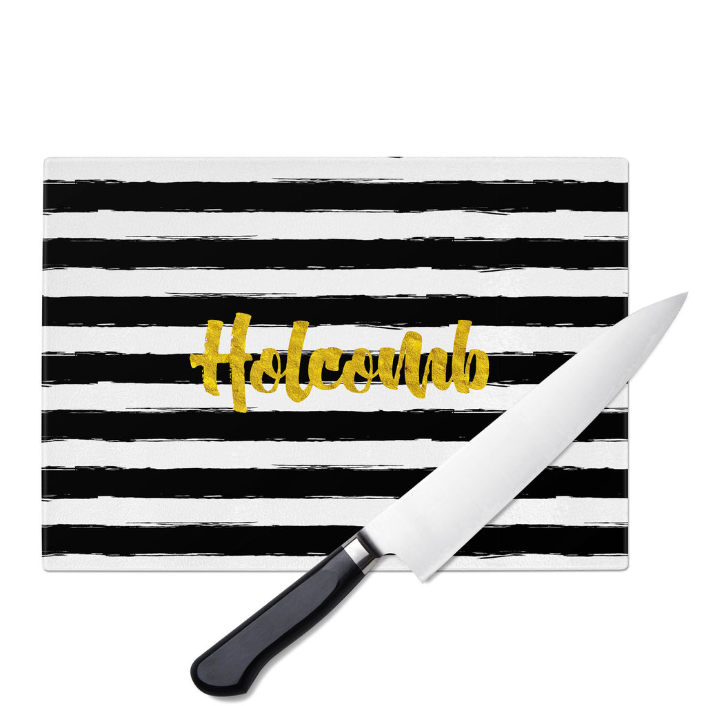 Personalized Glass Cutting Board-Painted Stripes