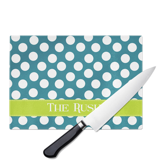 Personalized Glass Cutting Board-Polka Dots