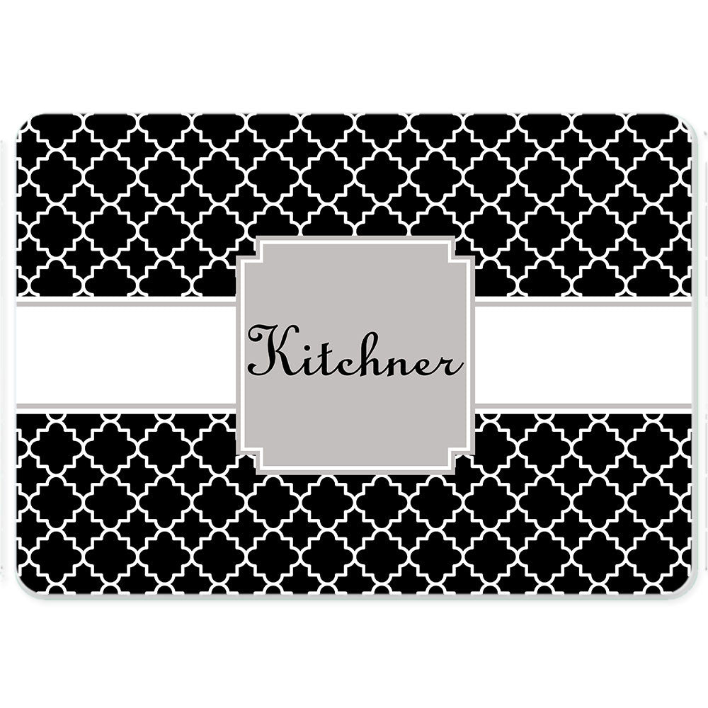 Personalized Glass Cutting Board-Quatrefoil 2
