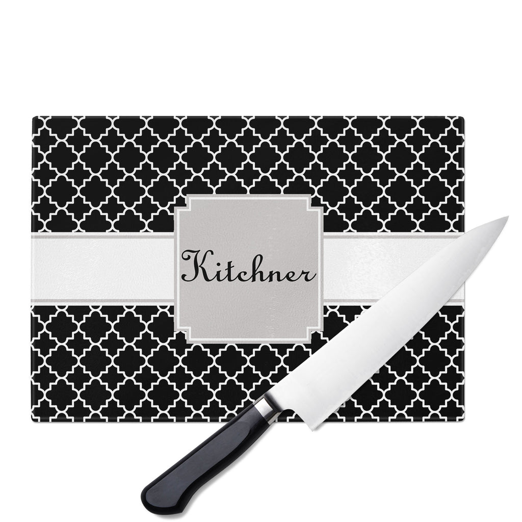 Personalized Glass Cutting Board-Quatrefoil