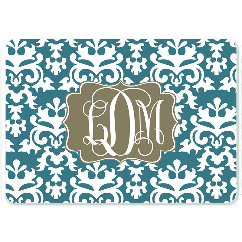 Personalized Glass Cutting Board-Vintage Damask 2
