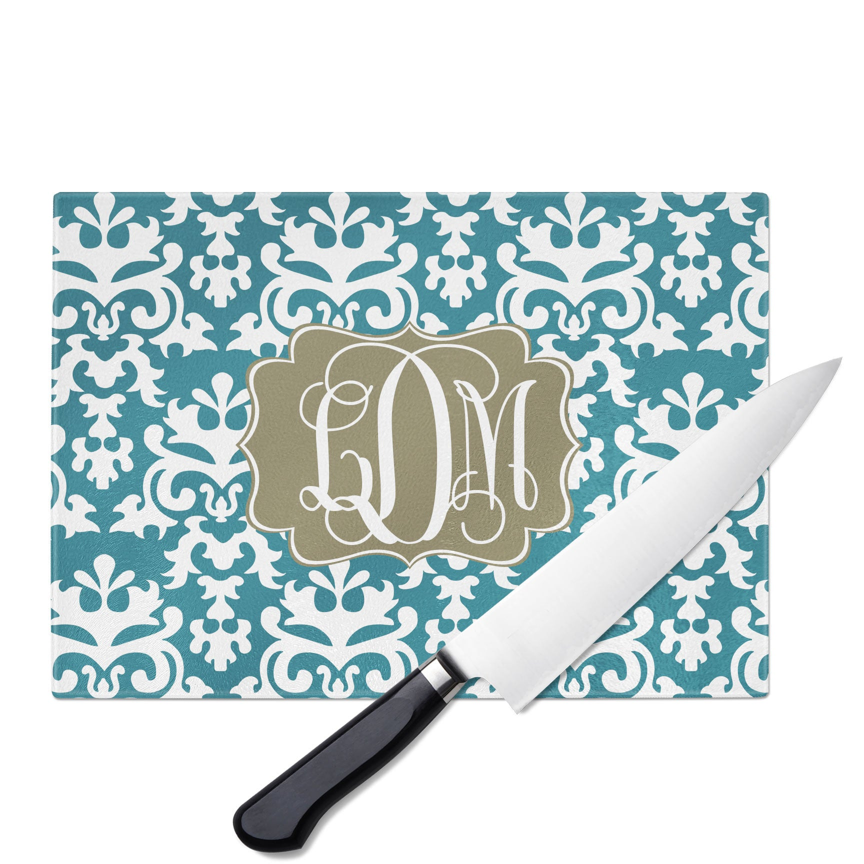 Personalized Glass Cutting Board-Vintage Damask