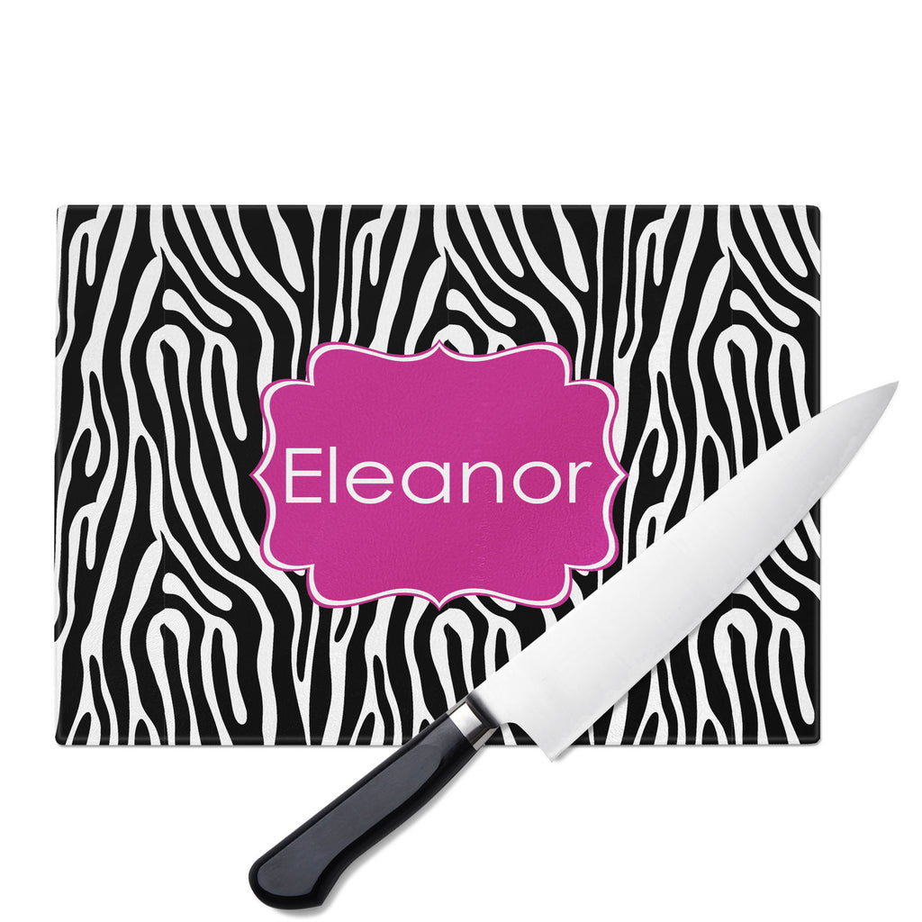Personalized Glass Cutting Board-Zebra