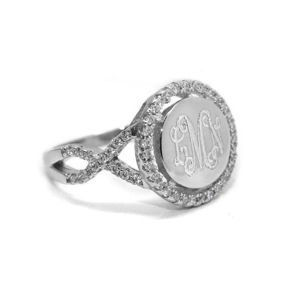Sterling Silver Twisted Band CZ Rimmed Monogram Ring