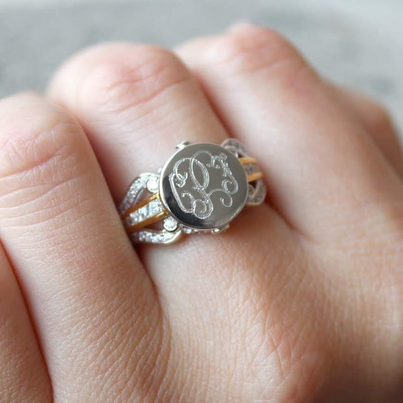 Sterling Silver Circle Ring Three twisted ring bands Hand stamped Size 6