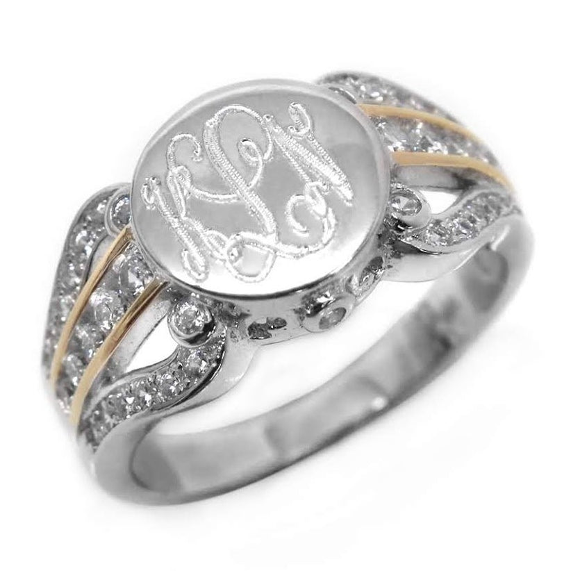 Sterling Silver Twist Split Band CZ Monogram Ring