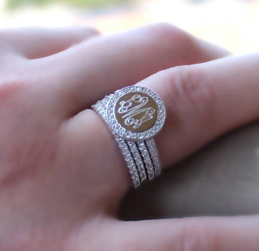 Monogram CZ Ring Stack