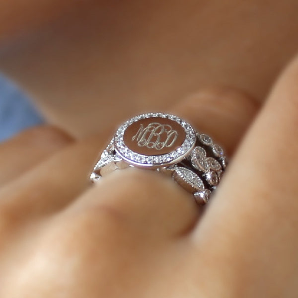 sterling silver multi shaped cz rimmed monogram stacking ring
