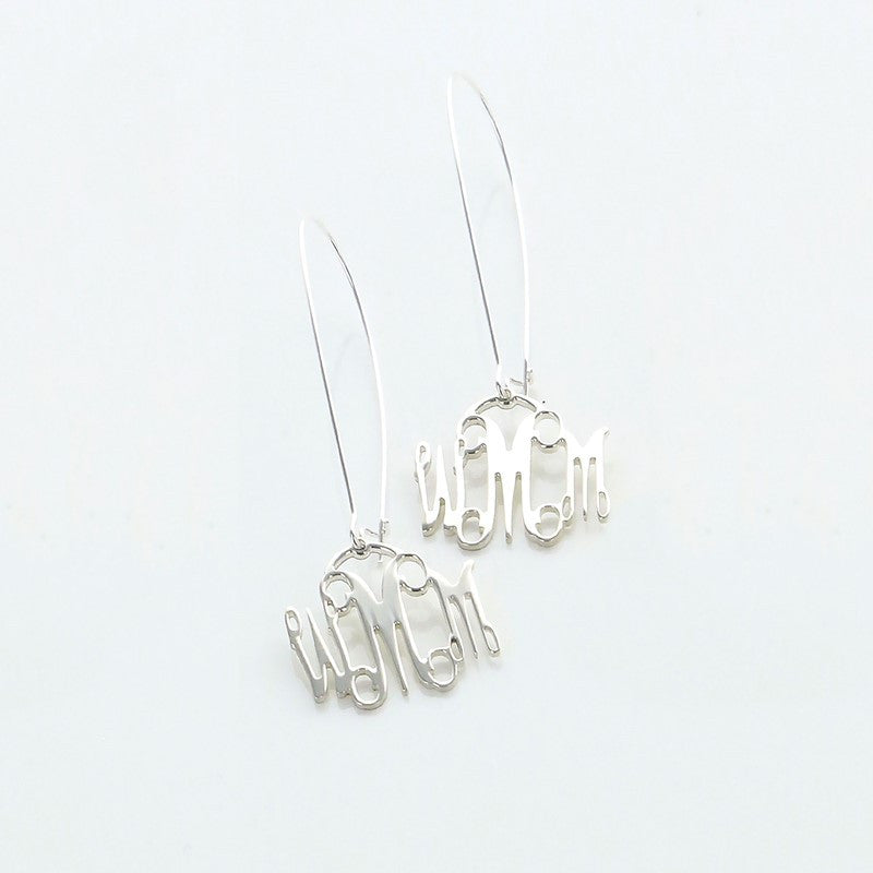 Sterling Silver Interlocking Monogram Dangle Earrings
