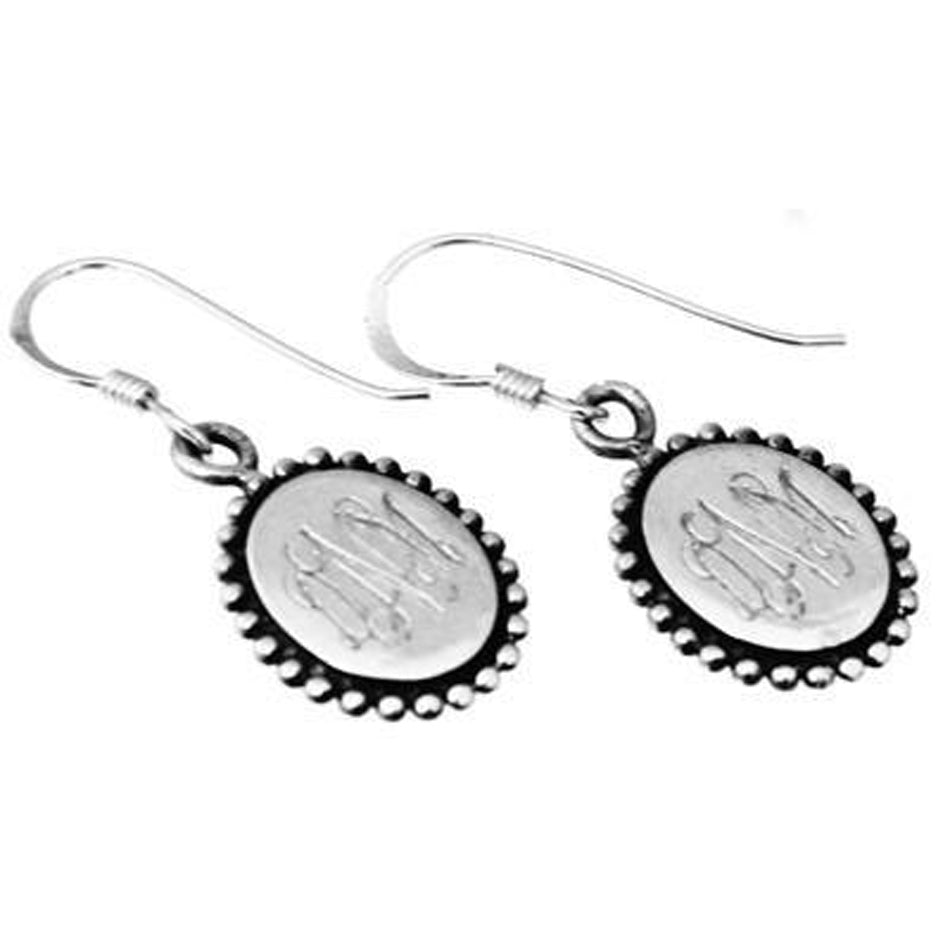 Sterling Silver Dangle Oval Beaded Monogram Earrings