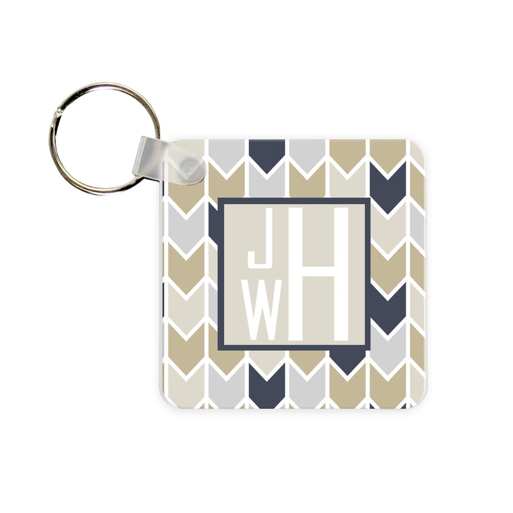 Personalized Herringbone Monogram Key Chain