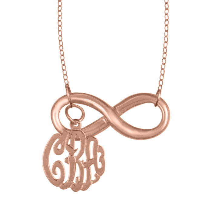 24K Rose Gold Plated Infinity Monogram Necklace