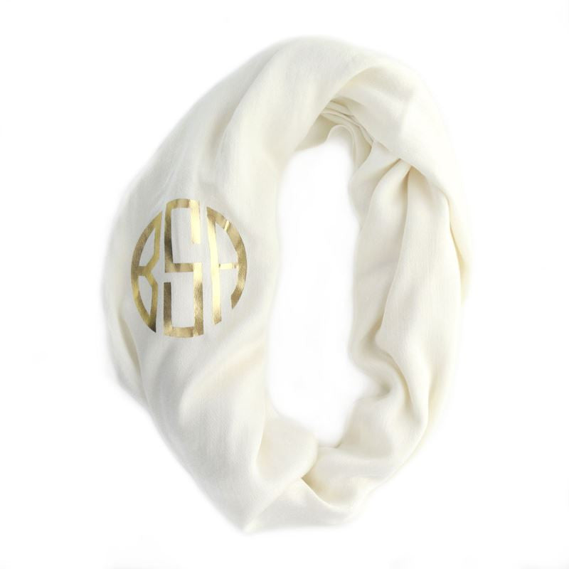 Monogrammed Infinity Scarf - Ivory