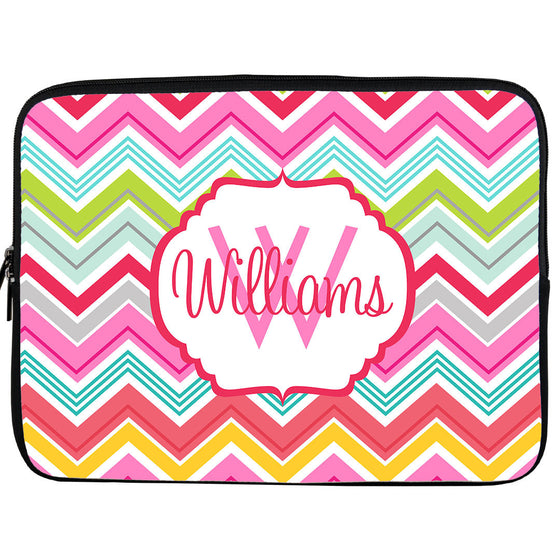 Monogram iPad or Kindle Sleeve-Colorful Chevron