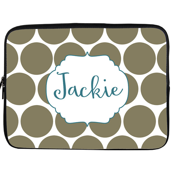 Monogram iPad or Kindle Sleeve-Big Polkadot
