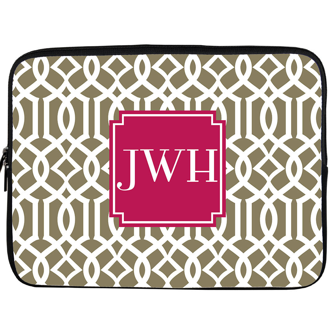 Monogram iPad or Kindle Sleeve-Lattice