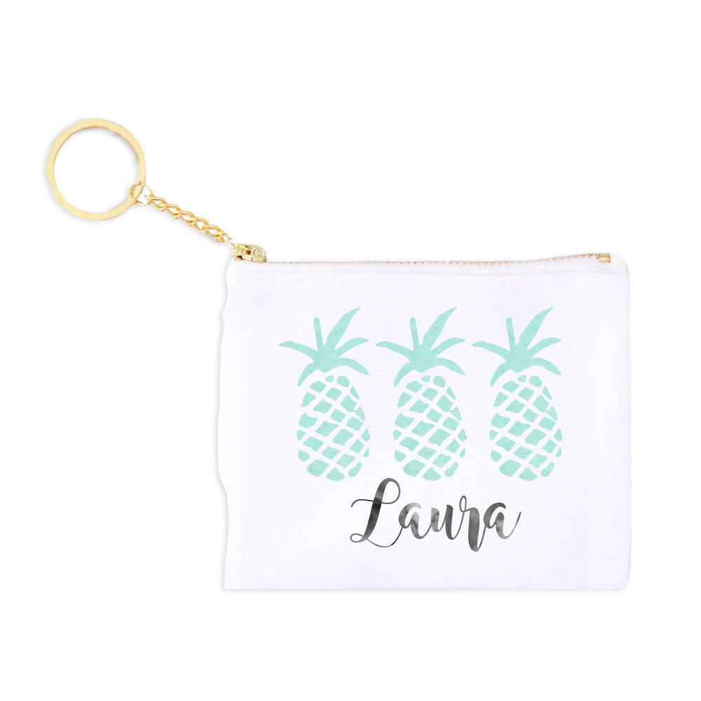 Monogram Key Fob Coin Purse - Pineapples