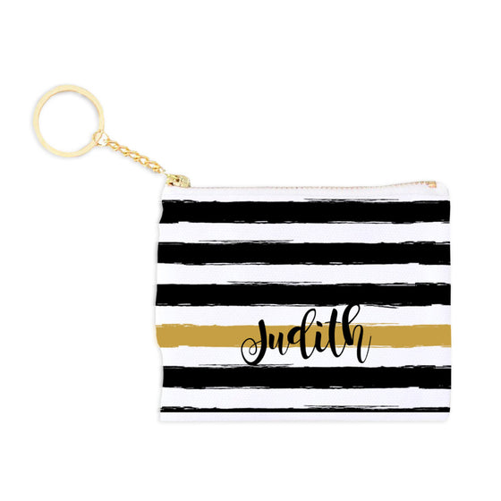 Monogram Key Fob Coin Purse - Black and Gold Stripe