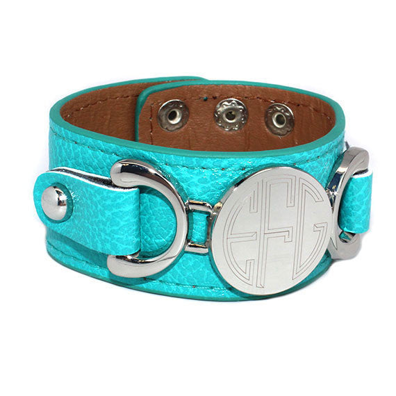 Monogram Leather Bracelet - Turquoise