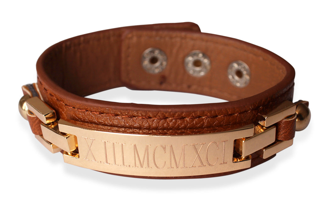 Thin Monogrammed Leather Cuff Bracelet - camel gold