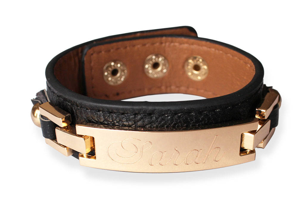 Thin Monogrammed Leather Cuff Bracelet - black gold