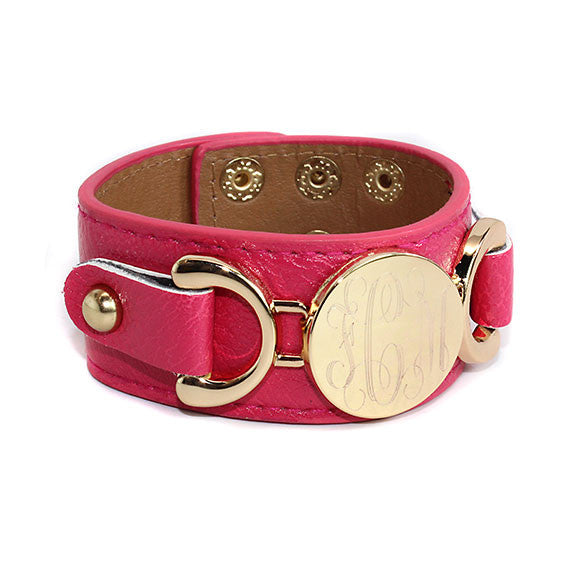 monogram leather cuff bracelet hot pink