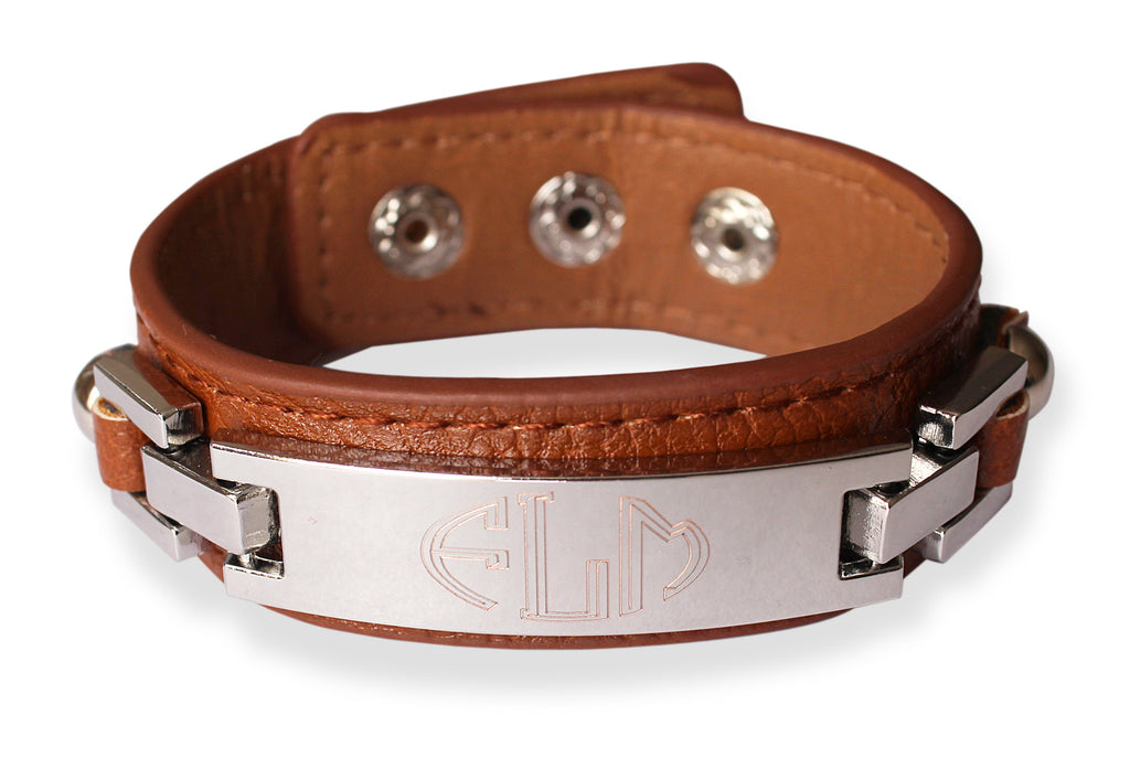 Thin Monogrammed Leather Cuff Bracelet - camel silver