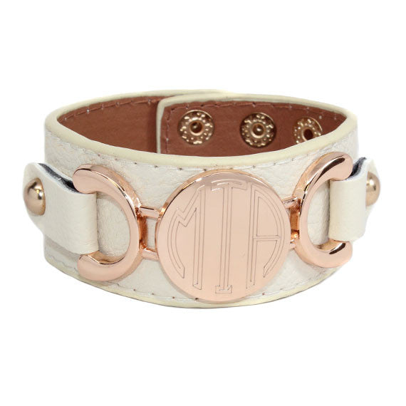 monogram leather cuff bracelet creme