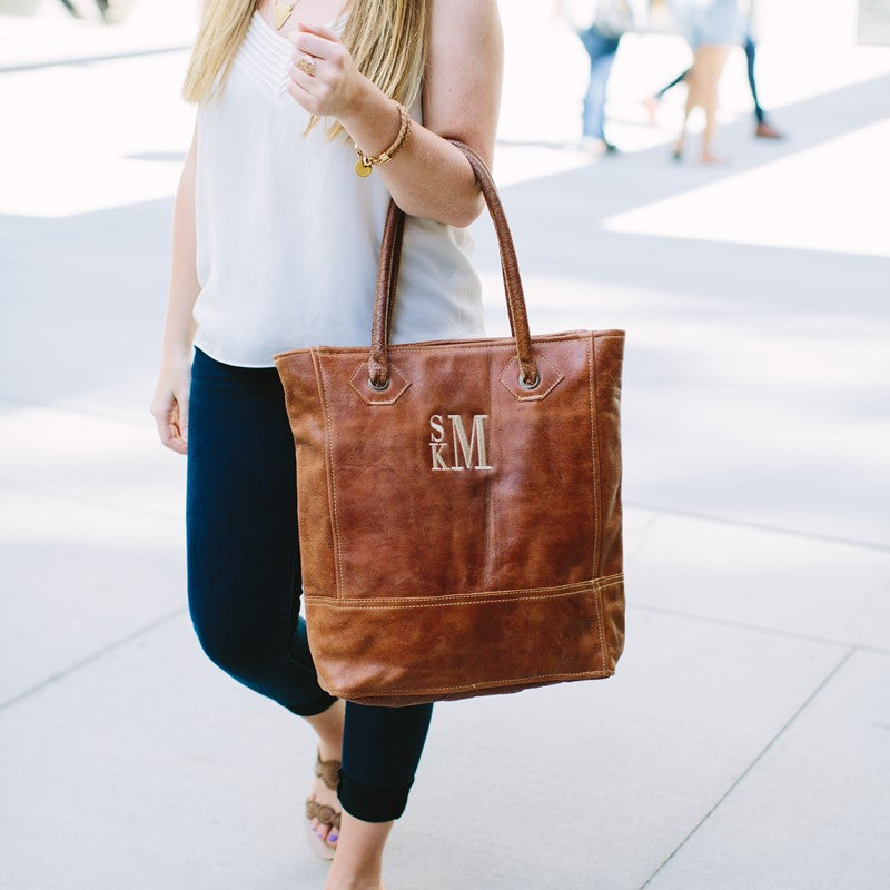 Monogram Rustic Leather Tote Bag 2
