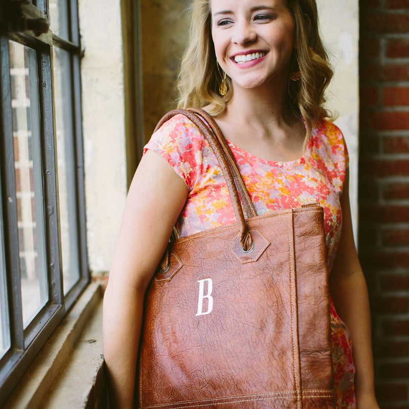 Monogram Rustic Leather Tote Bag 4