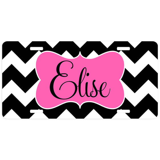 Personalized Car Tag License Plate - Pink and Black Chevron