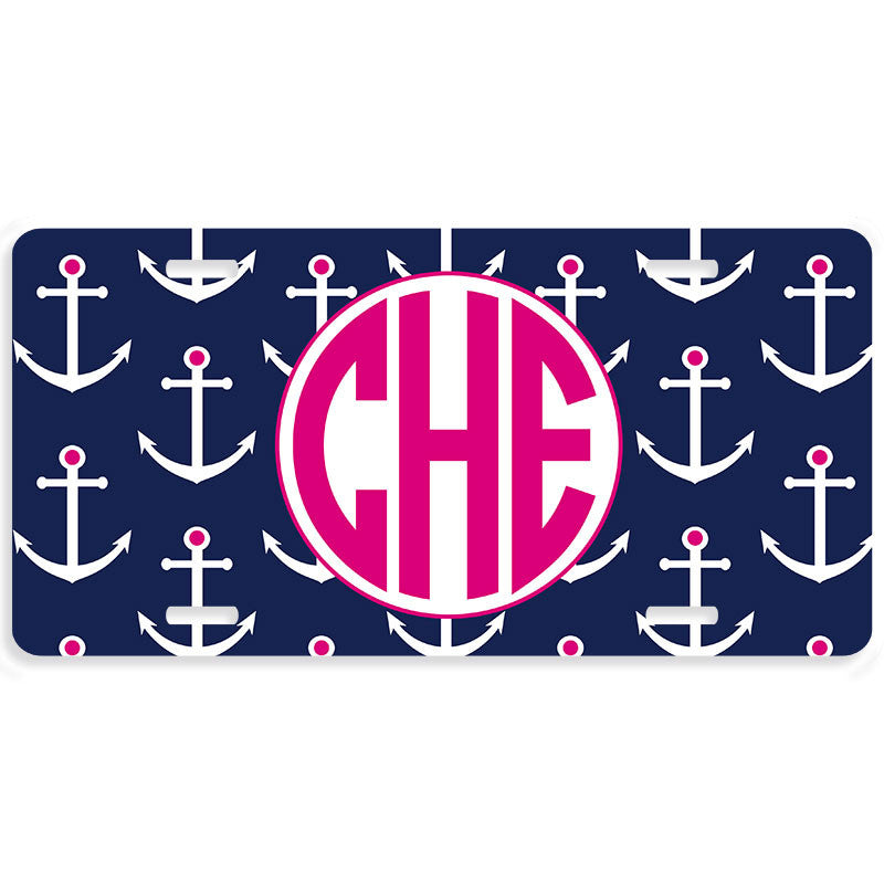 Monogrammed Car Tag License Plate - Anchors