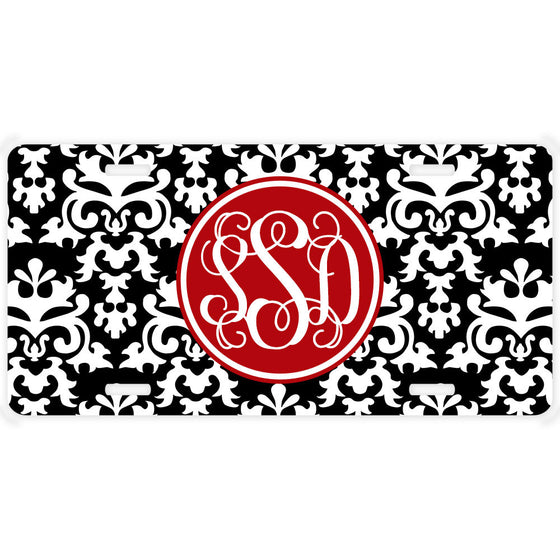 Monogrammed Car Tag License Plate - Vintage Damask