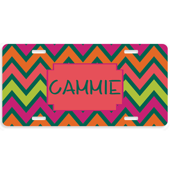 Multi Chevron Monogrammed Car Tag License Plate