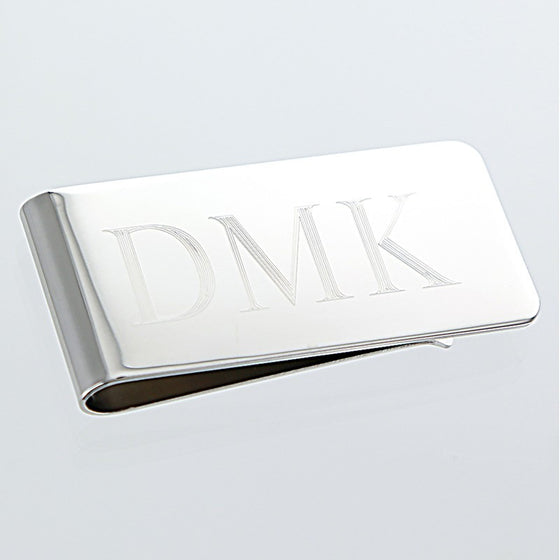Silver Plated Monogram Money Clip