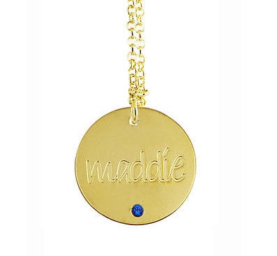 gold-engraved-disc-birthstone-necklace
