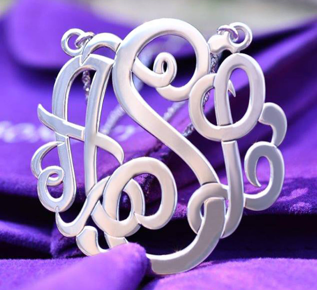 Personalized Sterling Silver Classic Script Monogram Necklace Alternate 2